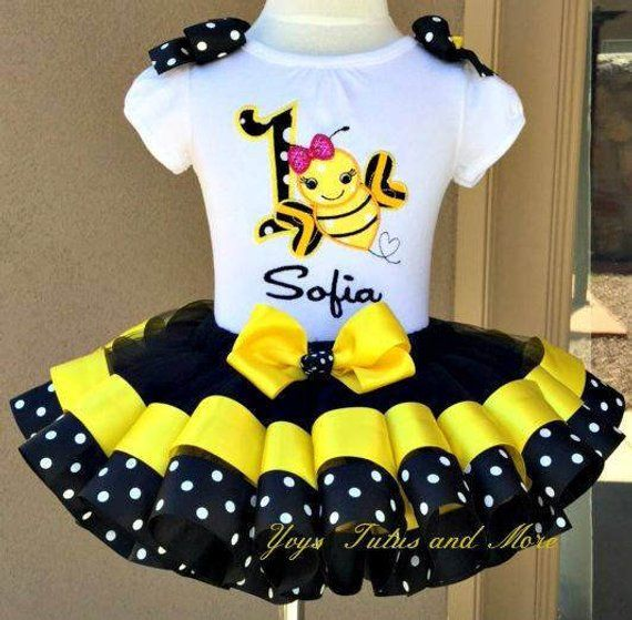 2f3fb2847 Bumble Bee Birthday Tutu Set ~ Ribbon Trim Tutu & Hair Bow ~ Customize in  Any Colors of Your Prefe