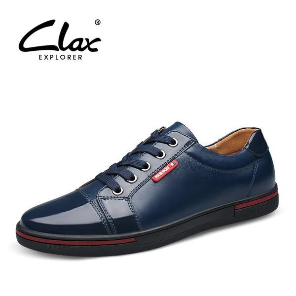 Clax Men's Patent Leather Shoes Fashion Designer Flat Male Elegant Shoe Black  Blue British Style Casual