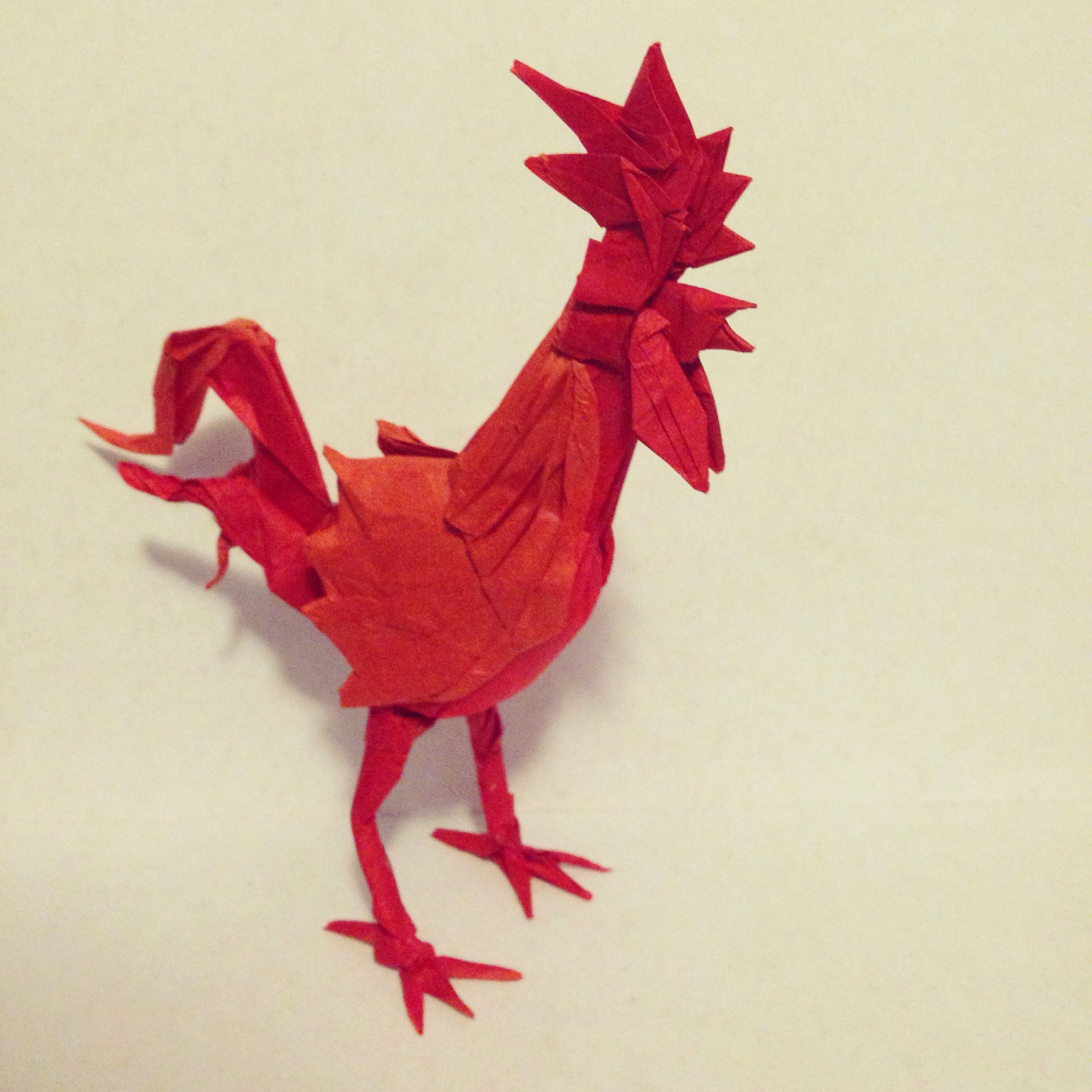 origami rooster designed and folded by me origami