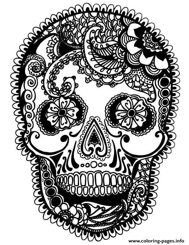 Print skully sugar skull Coloring pages | sugar skulls | Pinterest ...