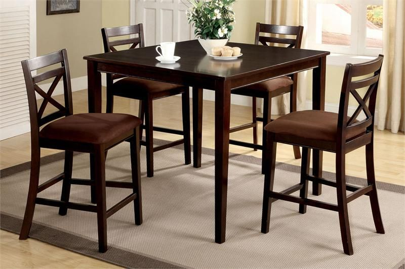 Tall Darkwood Dinner Tables 42 Dark Wood Counter Square High Table And 4 Chairs Hightablesquare
