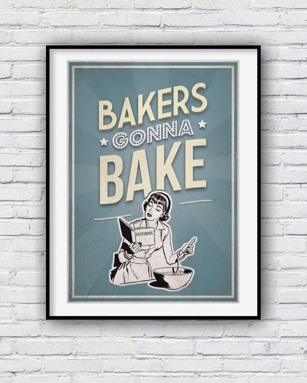 Kitchen wall art, baking poster, baking gifts, The great British ...