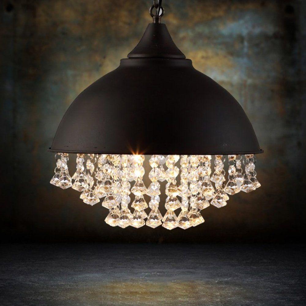 Vintage style iron shaded glittering large crystal lighting beads