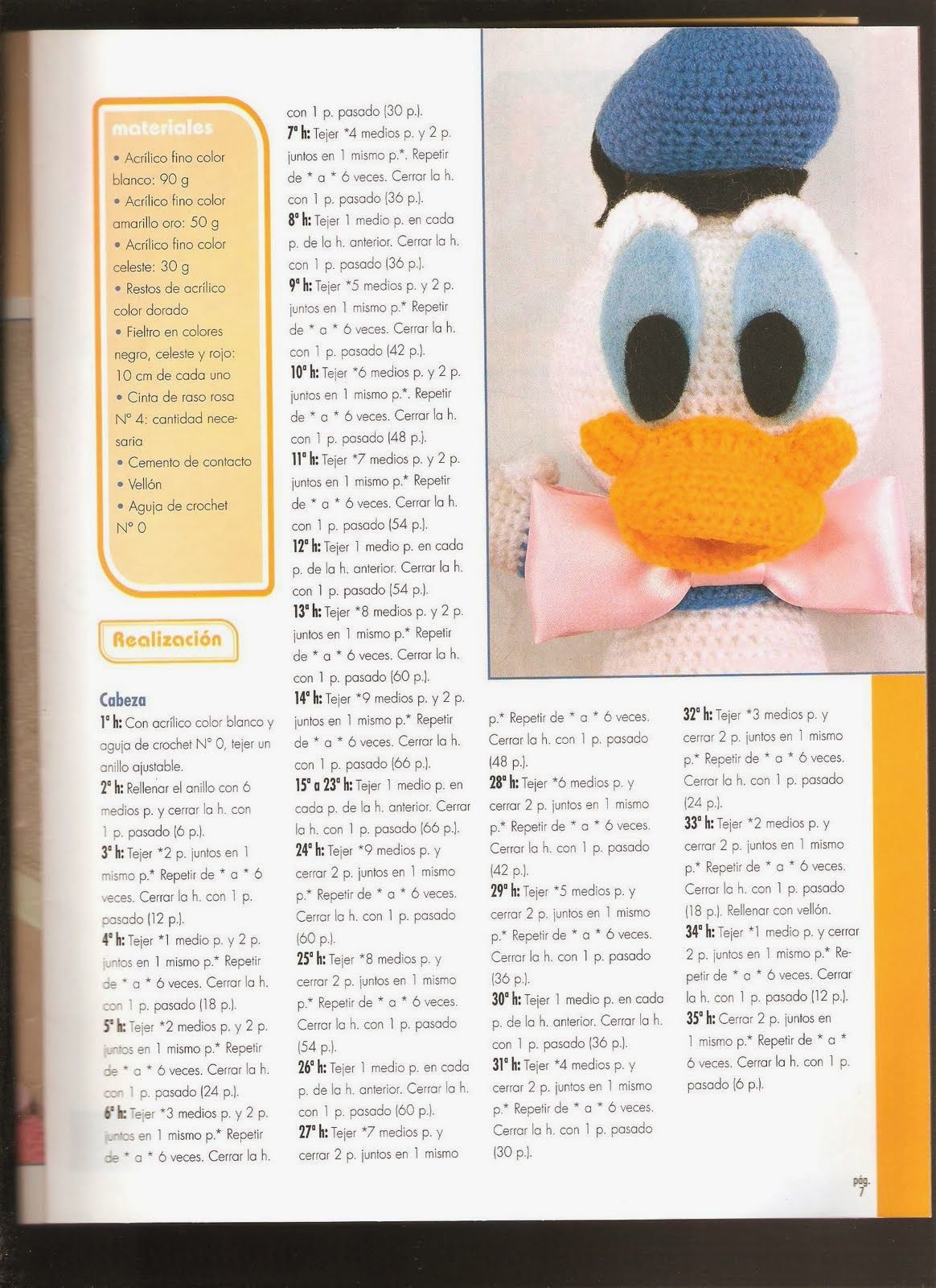 Como hacer Pato Donald en crochet - Revistas de manualidades Gratis ...