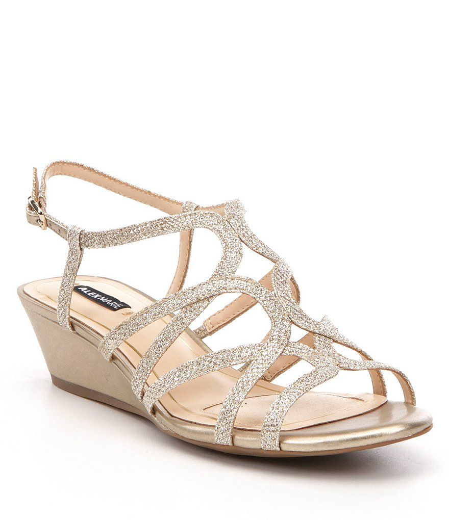 Bridal Shoes Selfridges: Alex Marie Mairitwo Metallic Leather Ankle Strap Wedge