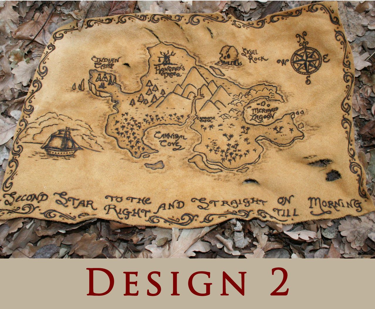 Peter Pan Neverland Leather Burned Treasure Map Book Wrap
