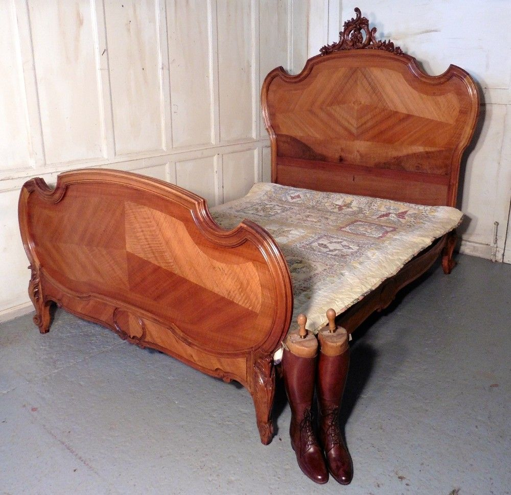 classic antique king bed, uk, louis xv style french golden walnut