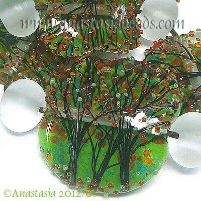"ANASTASIA--lampwork beads--(7)--""A HINT OF FALL""--SRA | eBay -- Seriously cute!"