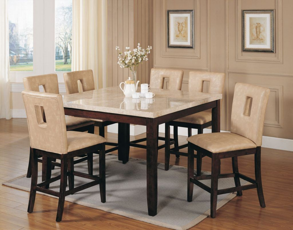 White Marble Dining Table Acme Britney 7 Pc Square Top Counter Height Set With