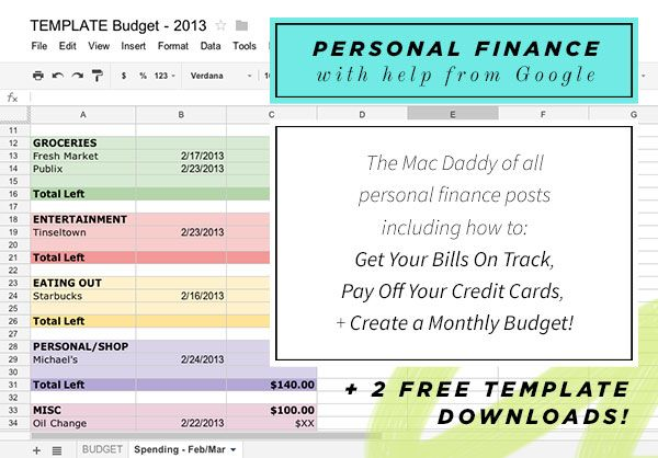 FREE templates! Getting your bills on track, paying off your credit - budget spreadsheet google drive