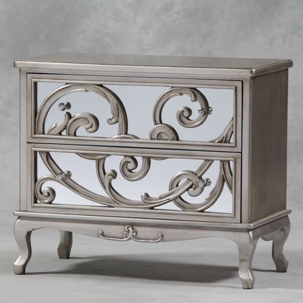 Luxury and Antique Silver Mirror Fronted Rococo Large Chest of Drawers  Bedroom Furniture   Furniture. Luxury and Antique Silver Mirror Fronted Rococo Large Chest of