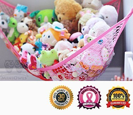 MiniOwls PINK Toy Storage Hammock XL Organizer (also comes in White) De-cluttering Solution & Inexpensive Idea for Every Room at Home or Facility - 3% is Donated to Breast Cancer Foundation
