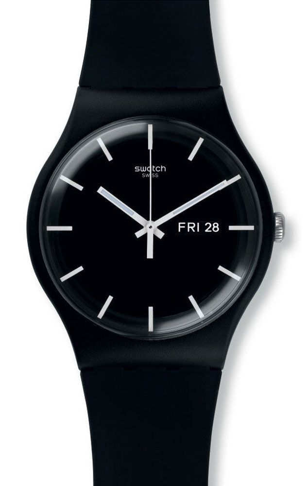 reloj swatch unisex mono black suob
