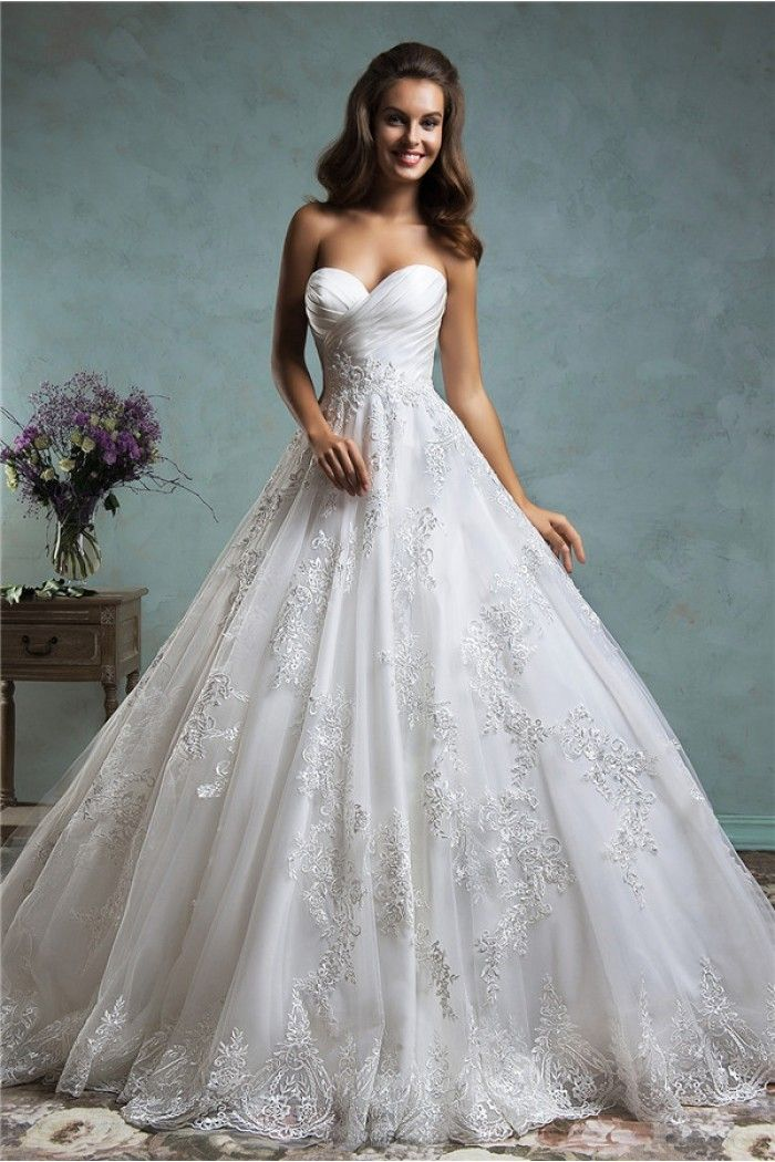 Traditional Ball Gown Sweeteart Low Back Ruched Satin Lace Wedding Dress