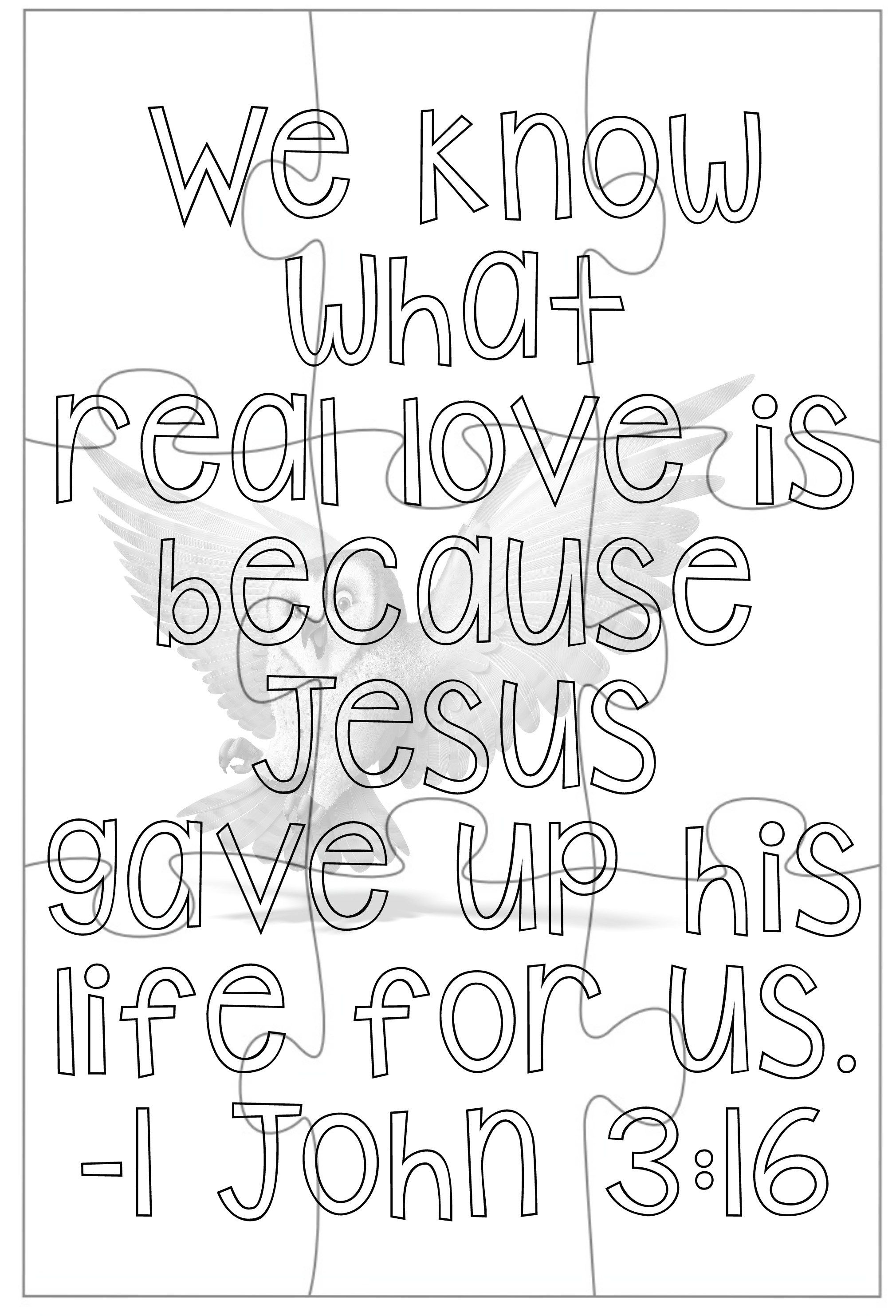 john 3 coloring pages   1 John 3:16 - 9 piece - Coloring Book   VBS   Printable ...