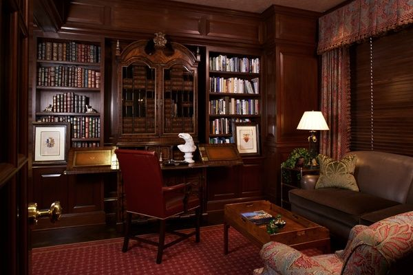 english decor offices | English library style home office. Great design.