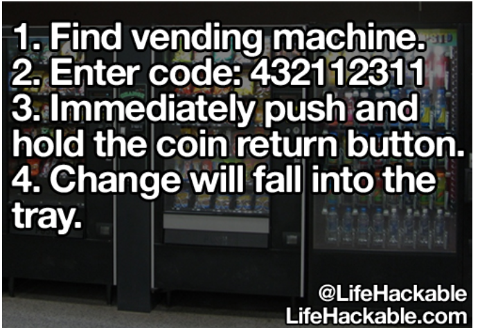 1  Find vending machine  2  Enter code: 432112311 3