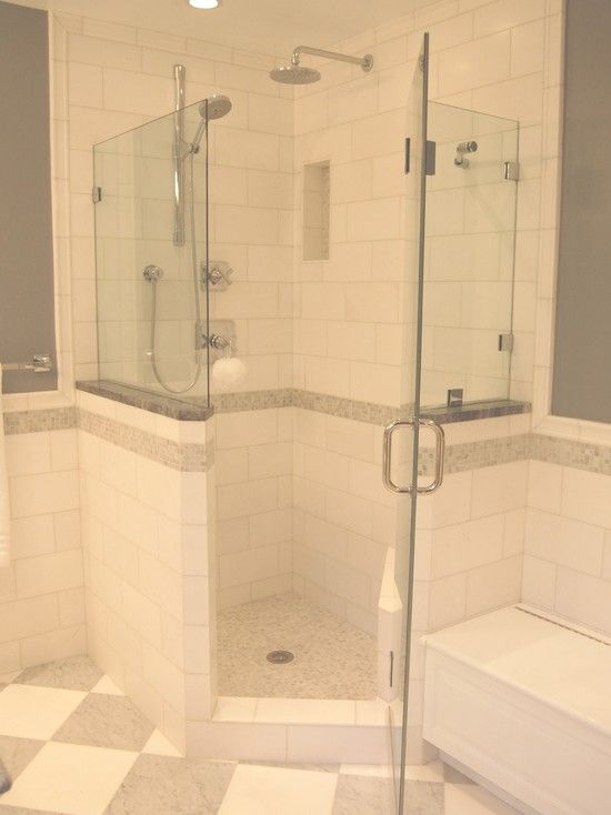 Spaces corner showers design pictures remodel decor and for Bathroom designs with corner bath