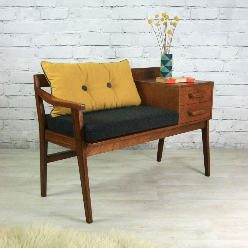 Retro Sofa Wood Vintage Teak 1960s Telephone Seat Would Love To Refinish One Of