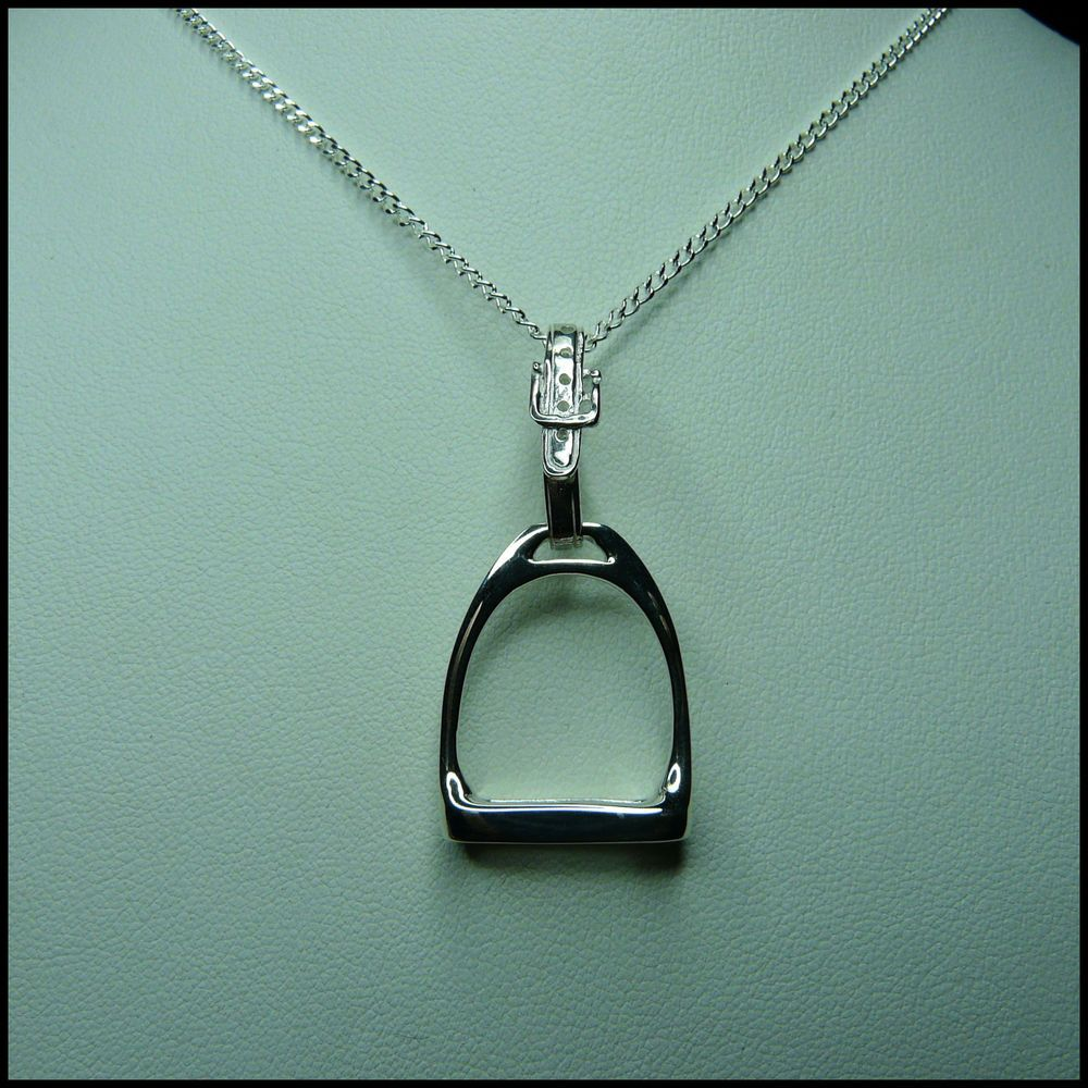 Sterling Silver Horse Stirrup Pendant Necklace with Gifts Box, Jewellery for Women