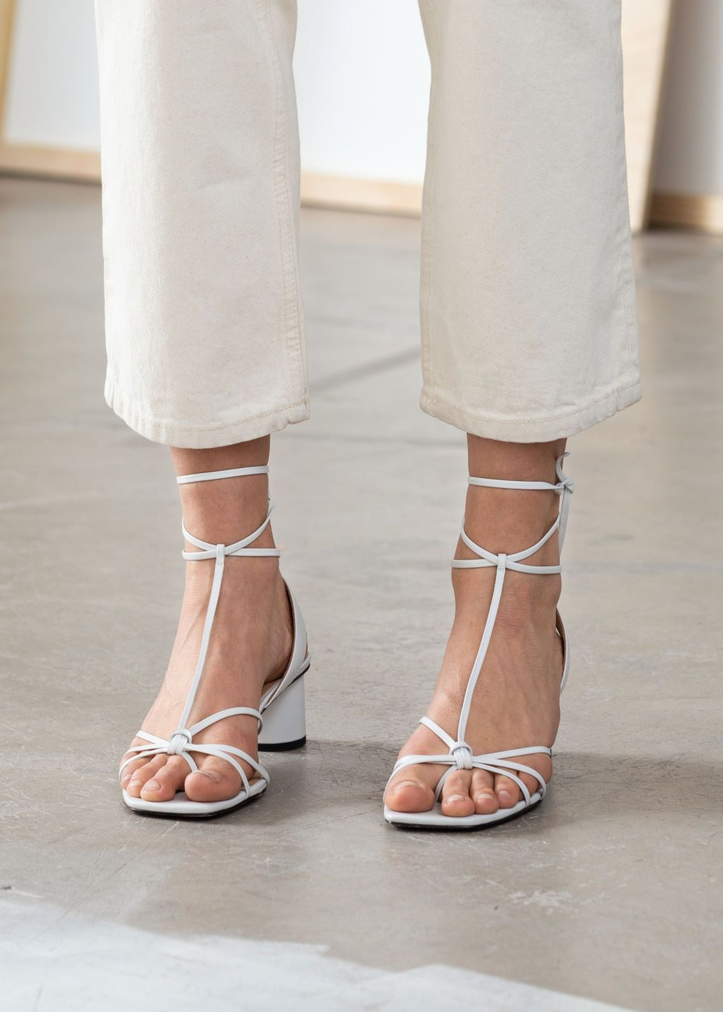 Square Toe Leather Strappy Heeled Sandals | Square toe heels
