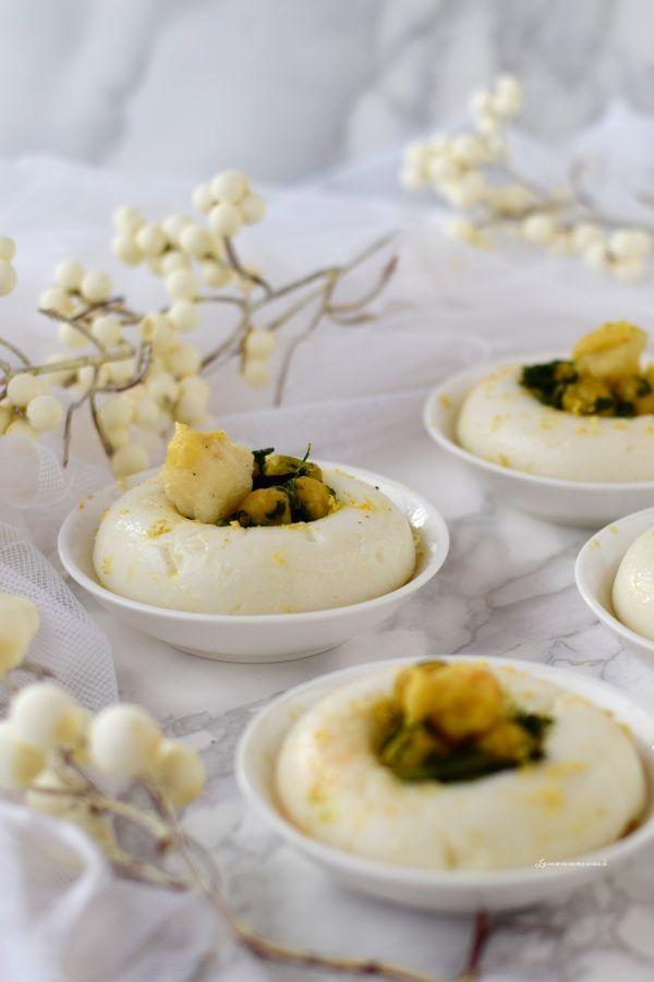 ciambelle di polenta bianca con ceci broccolo nero e baccalà fritto