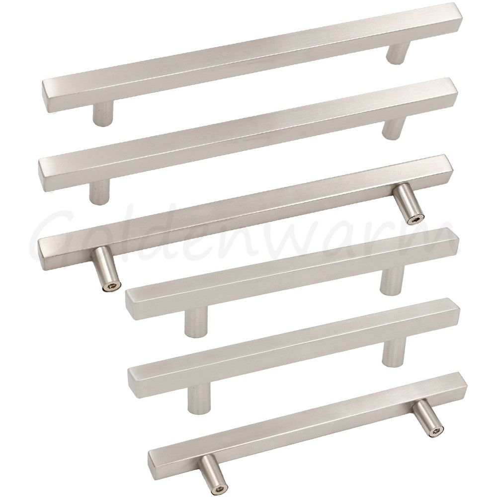 Brushed Nickel Drawer Pulls Kitchen Hardware Ls1212bss Square Bar