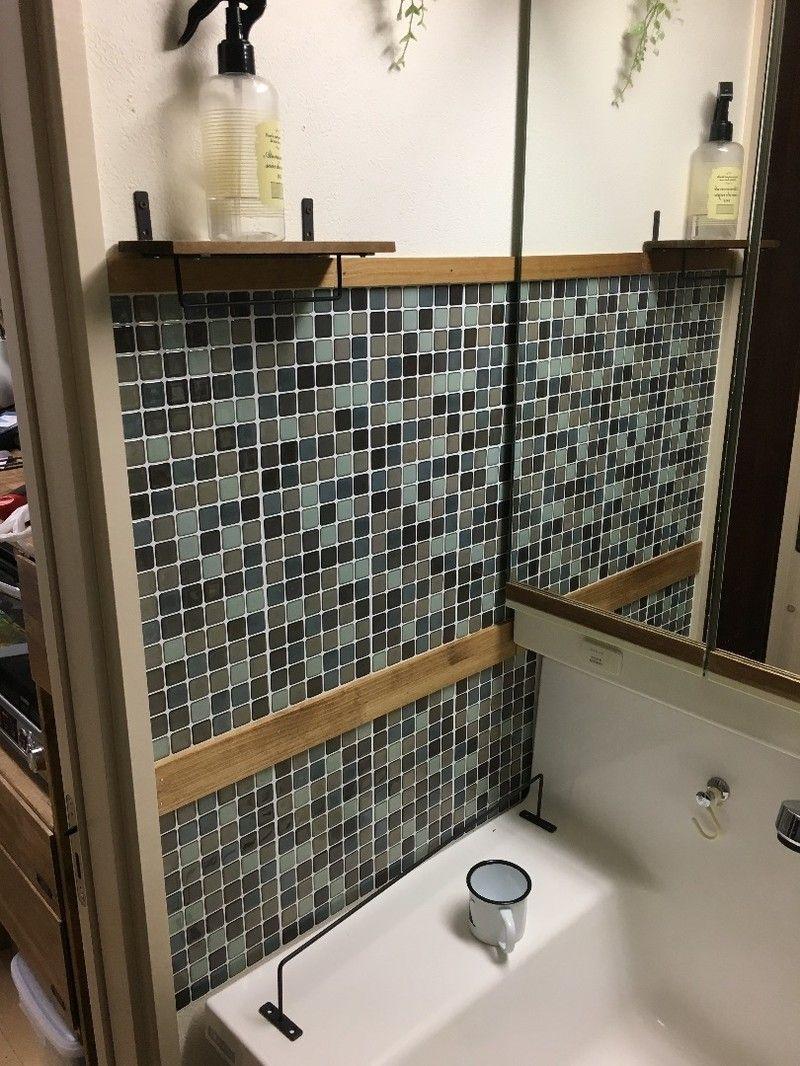ぷっくり可愛い ダイソー3dタイルステッカーで洗面所の壁をリメイク 洗面所 ダイソー ダイソー タイル