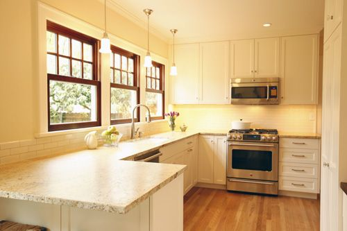 Wood Stained Windows Pendant Lighting Bright Kitchens Kitchen