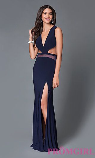 low cut open back long prom dress by temptation at