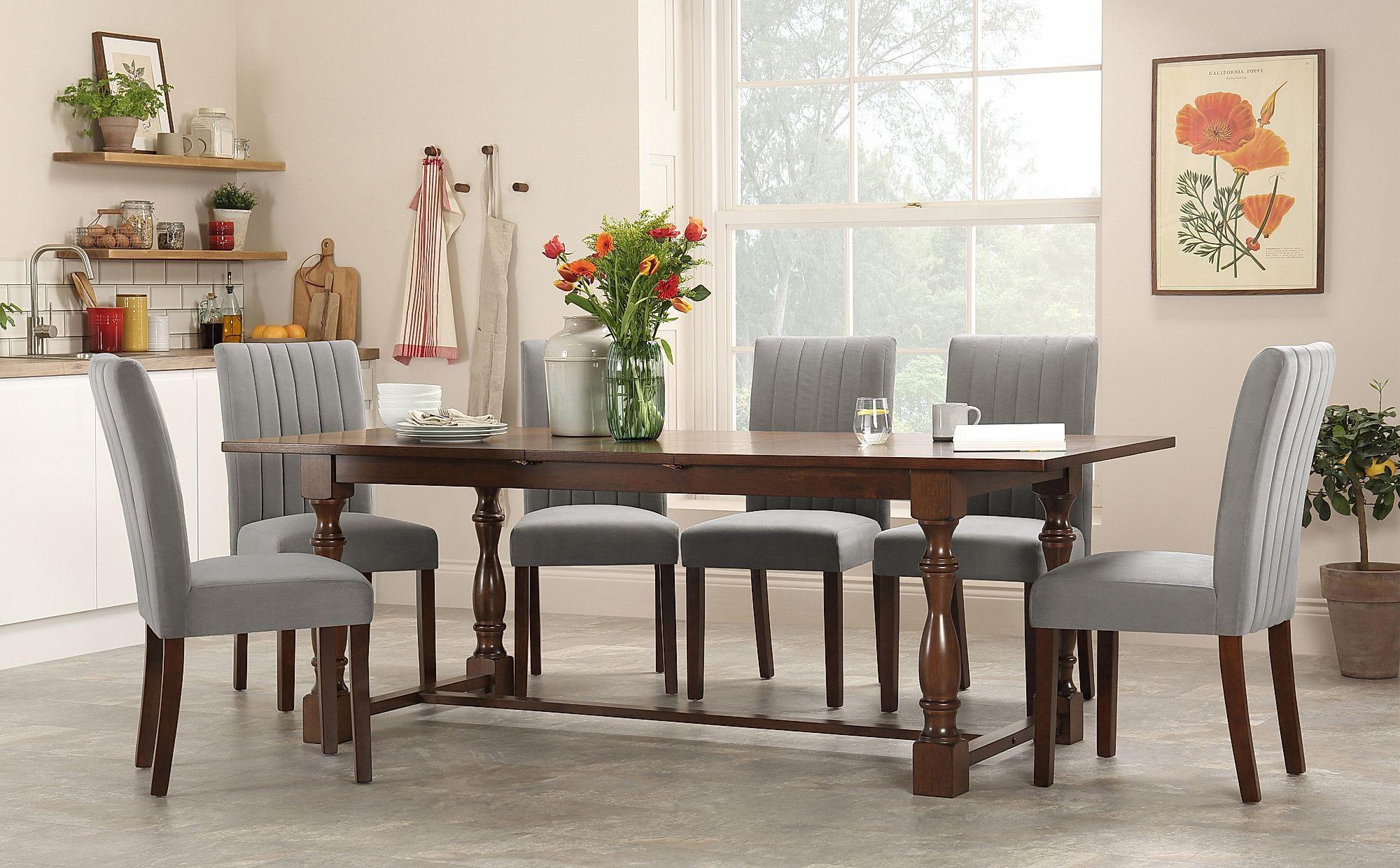 Devonshire Dark Wood Extending Dining Table With 4 Salisbury