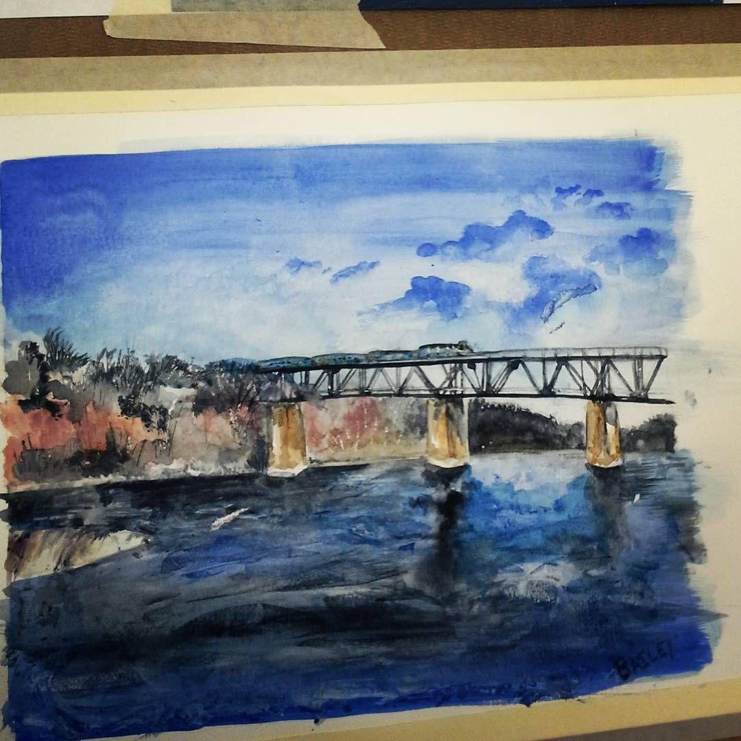 Paris Ontario Bridge Painting Littleartadventue.blogspot