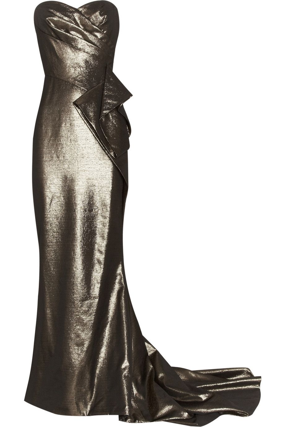 Marchesa Draped Lamé Gown in Gold | Lyst ; $2599