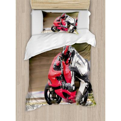 East Urban Home Racing Motorcycle Athlete in Speed Turning on the Road Activity Picture Duvet Set Size: