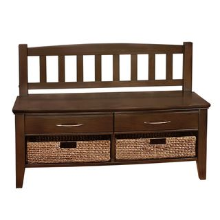 Langley Collection Walnut Brown Entryway 4-Drawer Storage Bench | Overstock™ Shopping - Great Deals on WyndenHall Benches