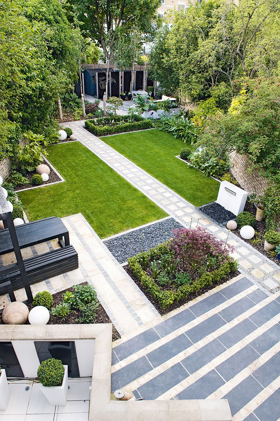 Diagonal Paving Garden Design Outdoor Yard Beautification