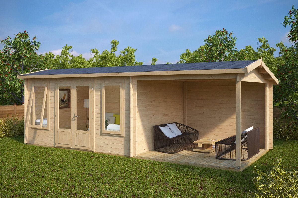 Holz Gartenhaus Mit Terrasse Eva D 12m 44mm 3x7 Hansagarten24 Gartenhaus Mit Terrasse Gartenhaus Haus