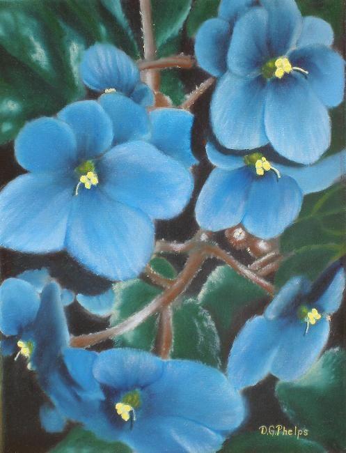 African Violet, Blue African Violet, flower art | African ...