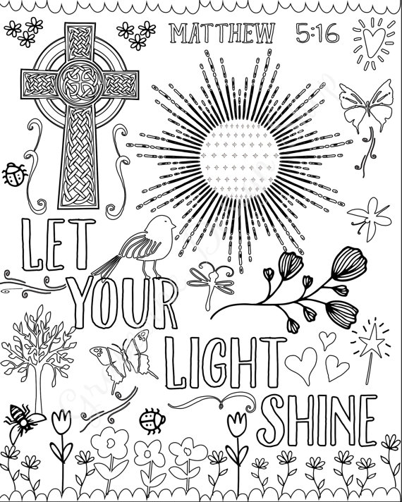 Bible Verse Coloring Pages Set Of 5 Instant Download Printable