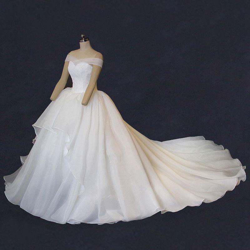 Off Shoulder Organza A Line Long Tail Wedding Dresses Corset