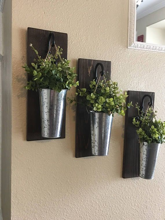 This Listing Is For A Farmhouse Inspired Set Of 2 Or 3 Hanging Galvanized Vase Sconces They Are T Galvanized Wall Decor Farmhouse Wall Decor Rustic Wall Decor