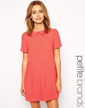 Girls On Film Petite Pleated Skirt Dress With Collar Detail