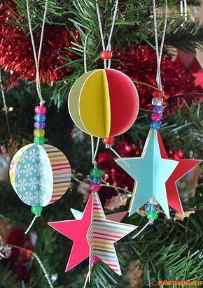 decorazioni albero di natale fai da te: stelle e palline colorate