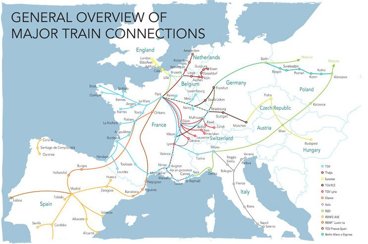 Europe by rail european rail network map Italian Destinations