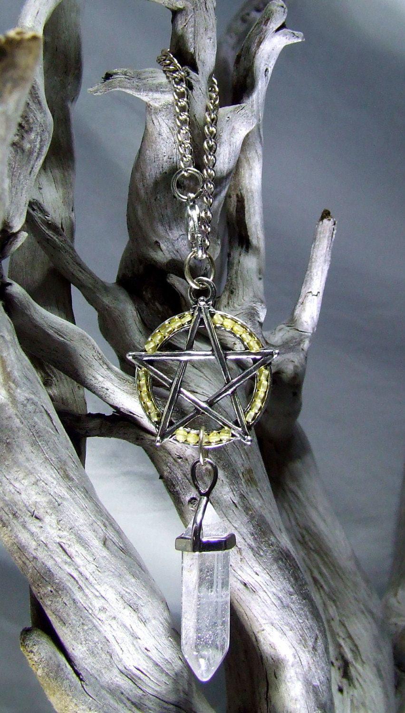 Wicca Car Charm Citrine Beads Silver Pentagram Quartz Crystal Pendulum Prosperity Talisman Abundance Amulet Magick Wicca Costume Accessories by TigerEmporium on Etsy