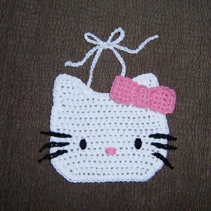 Hello Kitty inspired Baby Bib | Crochet Hello Kitty | Pinterest