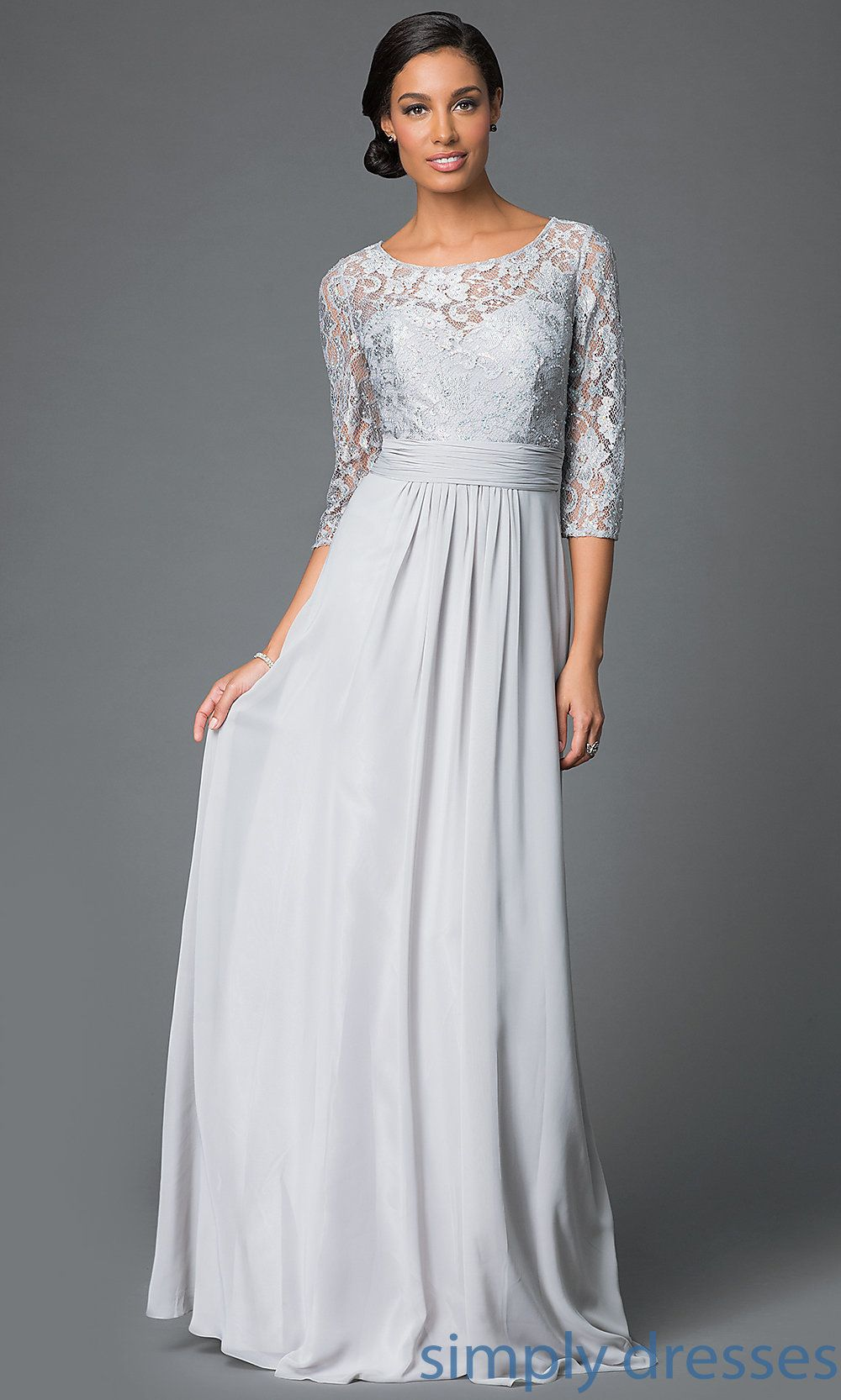 Floor length formal gown with lace bodice and three quarter length