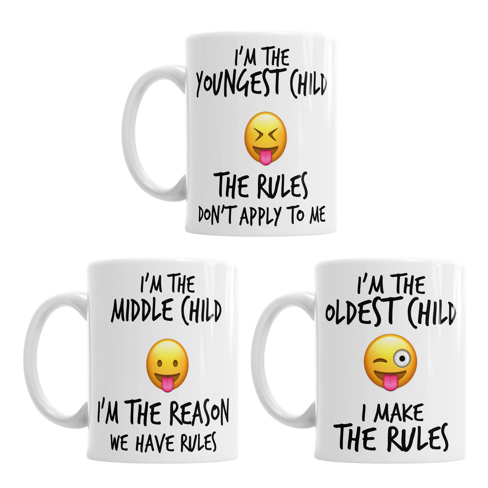 Emoji Coffee Mugs - Emoji Mug Set - Child Rules Mug Set - Older Child Mug - Middle Child Mug - Younger Child Mug - Older Child Gift #middlechildhumor Emoji Coffee Mugs - Emoji Mug Set - Child Rules Mug Set - Older Child Mug - Middle Child Mug - Younger Child Mug - Older Child Gift #middlechildhumor