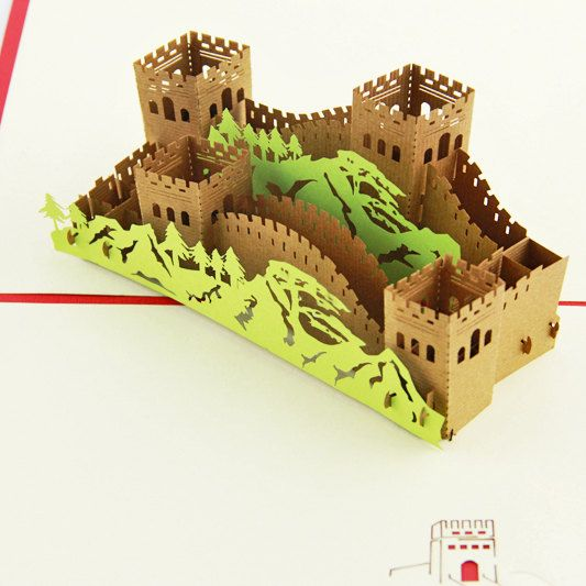 Great Wall of China card pop up card greeting card 3d by Bielyse ...