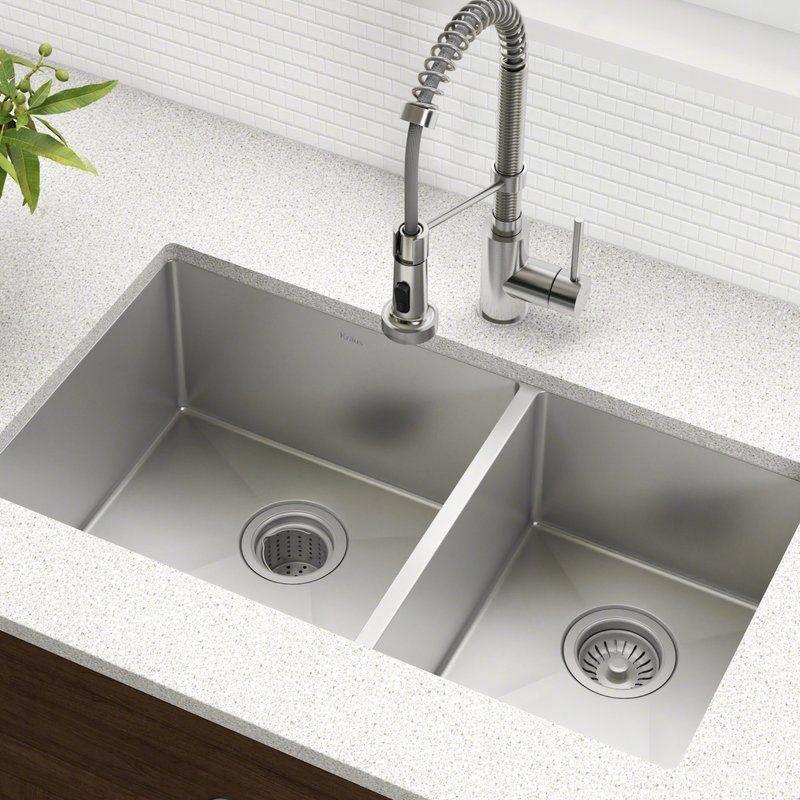 Standart Pro 33 L X 19 W Double Basin Undermount Kitchen Sink With Basket Strainer In 2020 Undermount Kitchen Sinks Double Bowl Kitchen Sink Stainless Steel Kitchen Sink